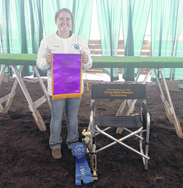 The overall showman in the the Fayette County Junior Fair Rabbit Showmanship contest was Aubrey Schwartz. Aubrey has been in 4-H for approximately nine years. According to her, this is her third year winning showman.