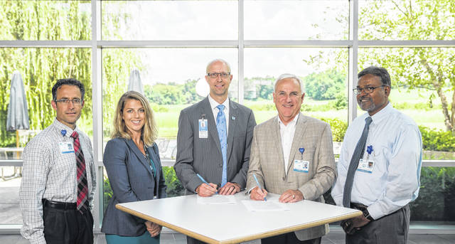From left to right, Ty McBee, Adena VP, Business Strategy; Kristyn Wasylik, NCH Regional Development; Darrell Mosby, NCH VP, Regional Development; Jeff Graham, Adena President & CEO and Dr. Sathish Jetty, Adena Pediatrics.