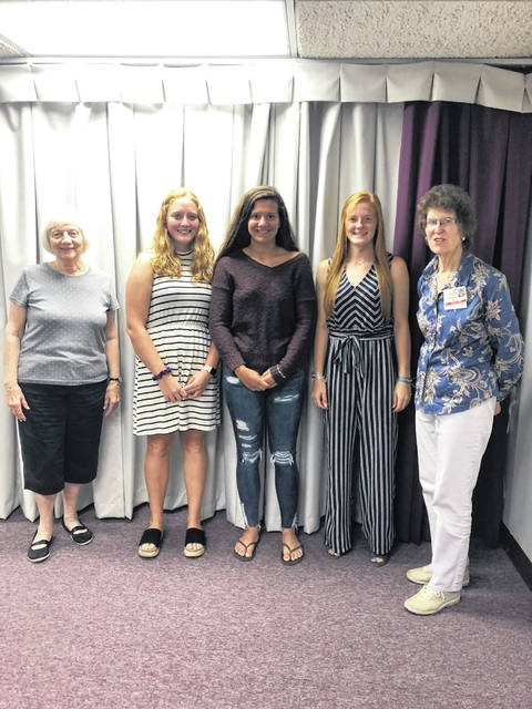 The three students receiving scholarships from the FCMH Auxiliary are Jessica Camp (left), Olivia Wolff (middle) and Tabitha Woods (right). Joyce Lott on the left and Barbara Vance on the right were on the scholarship committee.