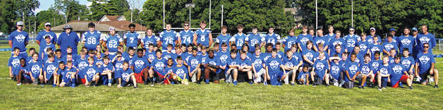 The Washington Blue Lions on July 23 and 24 held a football camp for youth that will be in grades 3-8 this upcoming school year. Above are the youngsters who took part, along with high school players and coaching staff members. The Blue Lion varsity football team opens the 2019 season at home with Senior Night on Friday, Aug. 30 hosting Blanchester.