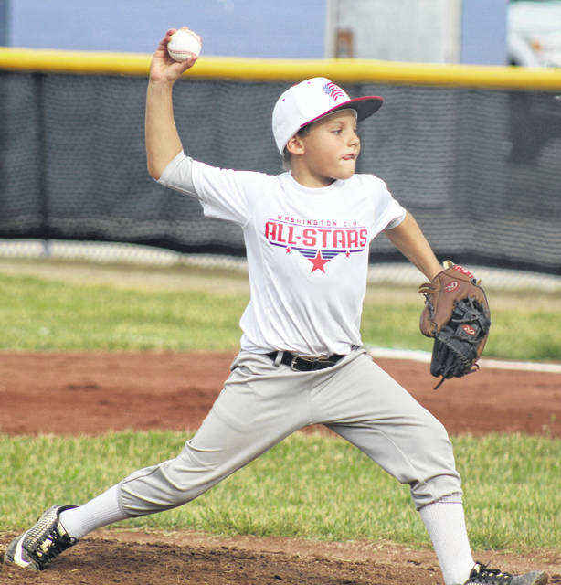 Carter Davidson pitches for the Washington C.H. 10-year-old all-stars in a District 8 Little League tournament game against Eaton at Eaton Tuesday, July 16, 2019.
