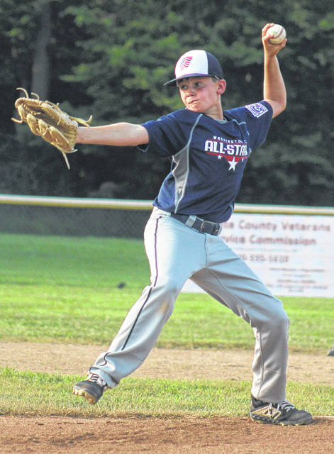 Cooper Robertson delivers a pitch for the Washington C.H. 11-year-old all-stars in a District 8 Little League tournament game against Englewood Friday, July 19, 2019 at Lewis Street.
