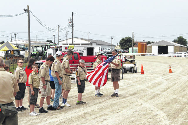 Members of the Jeffersonville and Washington Court House Boy and Cub Scouts joined together to hold a ceremony to retire old flags at the Fayette County Fair. Weather canceled the retiring unfortunately prior to the event at the McDonald's Grandstand on Monday evening.