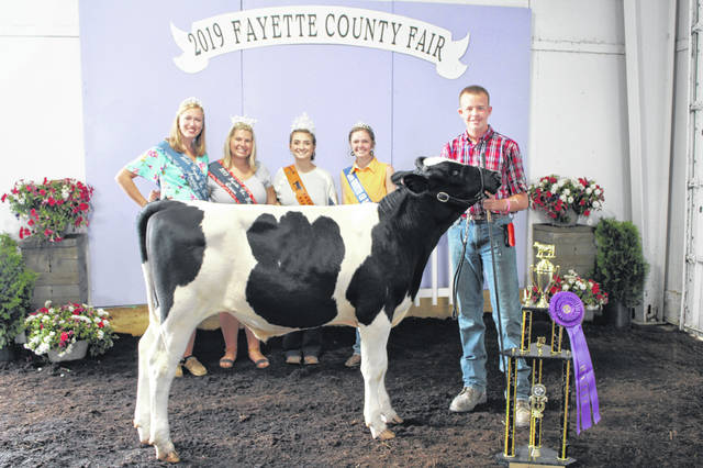 Matthew Webb — in his eighth year showing and member of the 4-H Fun Bunch club — was named the Grand Champion Dairy Feeder during the 2019 Fayette County Junior Fair Dairy Show on Wednesday morning. He is pictured with Fair Queen Attendant Andrea Robinson, 2019 Fayette County Fair Queen Abbi Pettit, Beef Queen Macie Riley and Dairy Princess Abby Riley.