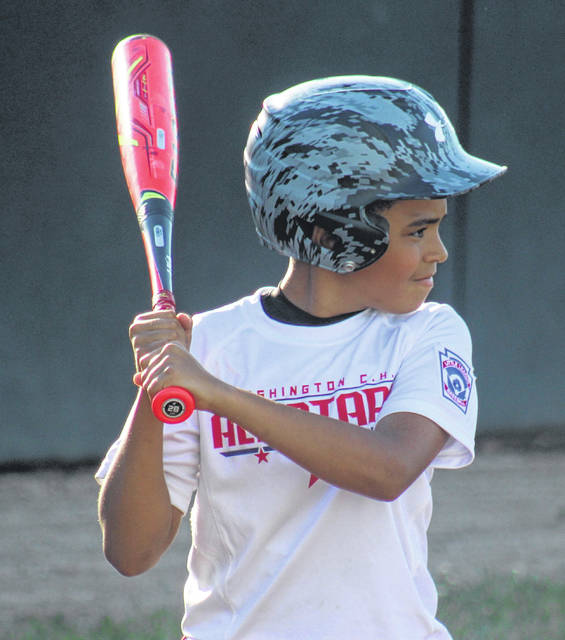Liam Alsop is up to bat for the Washington C.H. 10-year-old all-stars in their District 8 Little League tournament game against Enon Thursday, July 18, 2019. The game was played at the Little League park in Eaton.