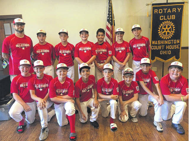 The Washington C.H. Little League All-Star teams were treated by the local Rotary Club to a luncheon at the Crown Room at the Rusty Keg Tuesday, July 9, 2019. These three teams will play in their respective District 8 tournaments for the right to go to the State tournament. The 12-year-old all-stars, above, began their tournament run with a 37-1 win over West Carrollton Monday, July 8. They played Fairborn Tuesday and will return to Fairborn to play another game Wednesday. (front, l-r); Brysin Humphrey, Gavin Coffman, Alex Robinson, Jakob Hoosier, Bryson Heath, Mason Mullins, Brendan Peters; (back, l-r); Coach Jordan Baker, Lafe Coleman, Cody Moore, Logan Clevenger, Keenan Moore, Trey Robinette and Frank Maddux. Not pictured: Xavier Lawhorn and coaches Nate Robinette, Allen Hoosier and Drew Maddux.