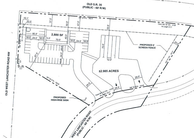 """Pictured is one of the documents shared during the meetings that shows a plan of the construction project titled the """"Bluestone Development."""" The owner is listed as Octa Retail, LLC and the applicant is listed as BSTP Midwest, LLC. The proposed location for the new Lion's Den building is the rectangle in the upper-left corner with """"2,800 SF"""" written inside it. The line with the circles on it is the proposed fence."""
