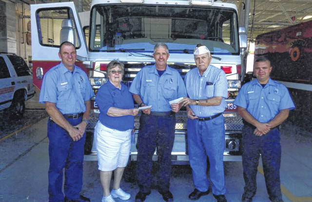 The VFW Post 3762 and Auxiliary donated to Fire In The Sky. Pictured (L to R): Martin Rennison, Cheryl Litton, Jody Langley, Bob Malone and Steve Yeoman.