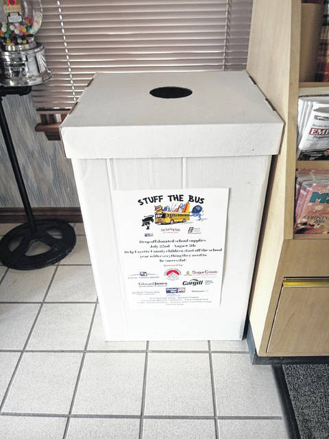 "One of the ""Stuff the Bus"" donation boxes, which is located in the Record-Herald Office, 757 West Elm Street in Washington Court House."