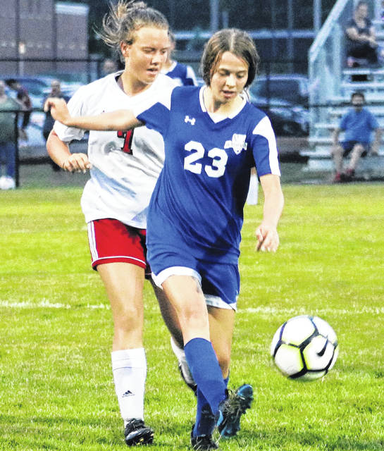 Washington's Bianca Nickell advances the ball during a non-conference match against Circleville Thursday, Aug. 22, 2019 at Washington High School. Washington hosts McClain Tuesday at 7 p.m.