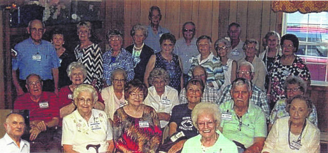 The WHS class of 1951 posed for a photo during their recent reunion. Pictured (L to R): insert Dick Hughes, first row: Juanita Phillips. Second row: Jane Hughes, Rozella McArthur, Liz Dawson, Tom Gilmore, and Shirley Stackhouse. Third row: Harold Thompson, Shiley Cupp, Wilma Manning, Mary Holley, Robert Highfield, Harold Roberts and Betty Gilmore. Four row: Clinton Gilmore, Rhoda Gilmore, Jodi Kirk, Ann Blake, Barb While, Eleanor Howard, Linda Highfield, Sharon Vincent, Esther Johnson and Ann Thompson. Fifth row: Bill Holley, Norman Merritt, Larry Johnson and Jane Merritt.