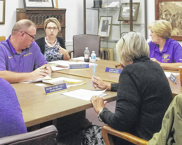 Superintendent Quincey Gray (center) delivers her report to the GEVS Board of Education at Monday's meeting. Also pictured are board members (l-r) Jason Allison, Marilyn Mitchell and Sandy Free.