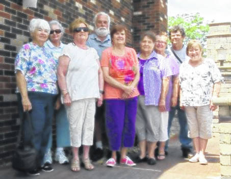 The members of the Fayette County Genealogical Society who attended the Field Trip Outing Day were left to right: Peggy Lester, Lois Ford, Cathy White, Glenn Rankin, Pam Rhoads, Sandy Kelley, Myckki Harkleroad, Jeb Bowen and Sue Gilmore.