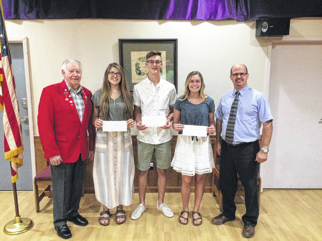 Pictured above are: scholarship committee member and past Exalted Ruler Ed Helt, scholarship winners Victoria Morrison, Devin Howard, Tori Evans , and scholarship chairman Matt Barga.