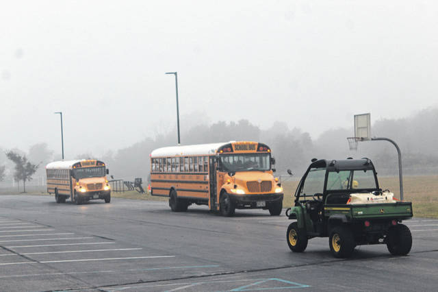 Miami Trace Middle School started bright and early at 7:15 a.m. on Wednesday with a fleet of buses delivering students for their first day of school.