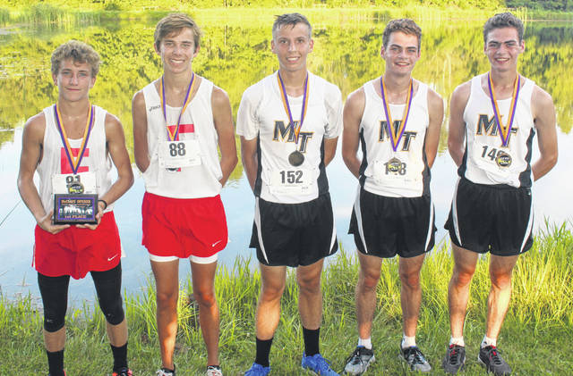 TOP FIVE BOYS AT McCLAIN — These are the 1st through 5th place finishers (from left to right) at the McClain season-opening cross country meet at Mitchell Park Wednesday, Aug. 21, 2019. (l-r); Cohen Frost, Fairfield, 1st; Ethan Davis, Fairfield, 2nd; and from Miami Trace, Bo Little, 3rd; Henry DeBruin, 4th and Simon DeBruin, 5th.