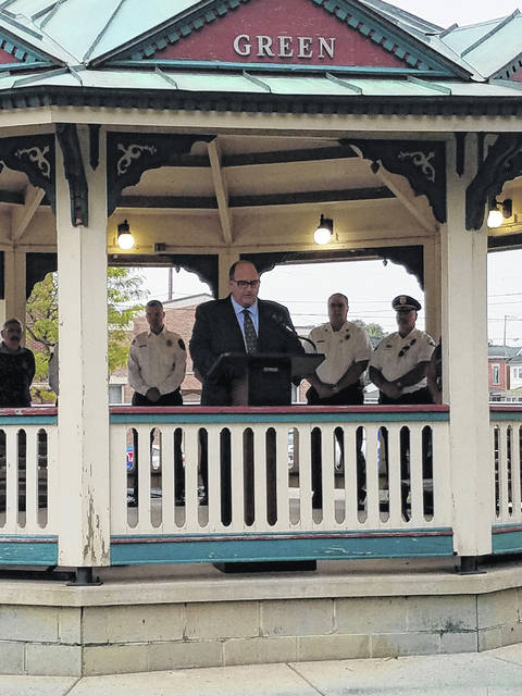 Pictured last year are Fayette County first responders, leaders and guests gathered at the gazebo on the courthouse lawn to remember the lives lost during the Sept. 11, 2001 terrorist attacks. Washington Court House City Manager Joe Denen spoke for the majority of the ceremony and gave a brief timeline of events during that fateful day in 2001.
