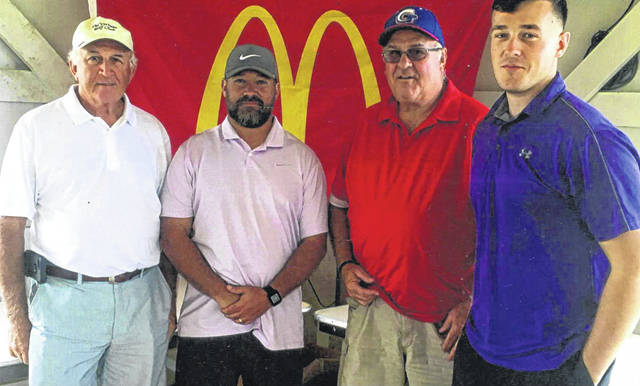 Fayette Christian School golf outing winning team — The quartet of (l-r); Gary Hetzler, Joe Green, Darrell Hetzler and Caleb Green, won the 10th annual event with a score of 57. The event was held at the Buckeye Hills Country Club Sept. 14, 2019.