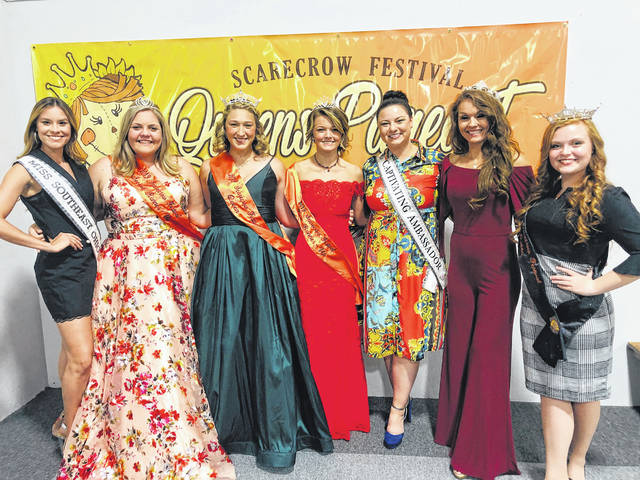 The pageant to crown the Scarecrow Festival Queen concluded on Tuesday with three judges choosing the winner to crown. (L-R) Judge Madeleine Smith, second runner-up Ali Reeves, the 2019 Scarecrow Festival Queen Victoria Waits, first runner-up Lexi Hagler, judge as well as Captivating Ambassador Rachel Castle, judge Liticia Walker and the 2018 Scarecrow Festival Queen Brooklynn Stanley.