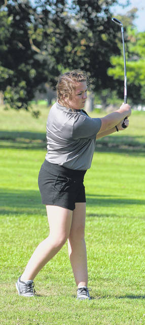 Miami Trace senior Haley Davis watches her approach shot to the No. 1 green during a match against Miami Trace and Westfall Wednesday, Sept. 4, 2019 at The Greens.
