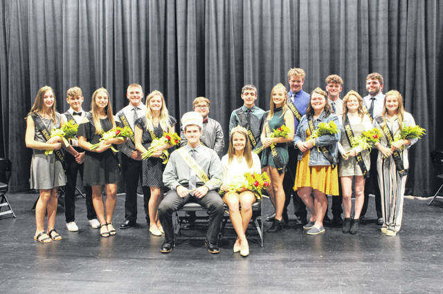 The 2019 Miami Trace Homecoming Court. Pictured (behind the seated King and Queen L to R): freshman attendants Gracey Ferguson and Dillon Hyer, sophomores Sarah Duron-Babb and Bryce Bennett, juniors Bridget Perkins and Xavier Guisinger and seniors Cody Brightman, Hayley Binegar, Grant DeBruin, Madyson Adkins, Dawson Wallace, Laikyn Hughes, Aiden Kingery and Devan Thomas. Seated are the 2019 King and Queen Austin Conklin and Lilly Litteral.