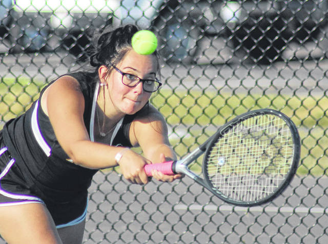 Miami Trace's Savannah Wisecup makes the play during a second doubles match against Jackson Tuesday, Sept. 17, 2019 at Miami Trace High School.