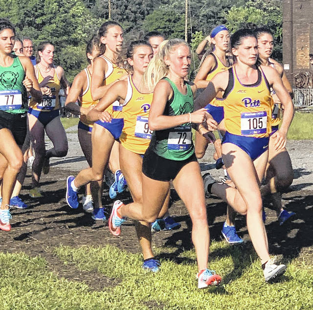 Washington High School graduate Maddy Garrison (72) competes in the Pitt Panther Open Friday, Aug. 30, 2019. Garrison led the Marshall women's cross country team with a 10th place finish. Garrison competed in six meets for Marshall as a freshman setting a new Thundering Herd record for leading her team in every single meet the team competed at in her first collegiate season.