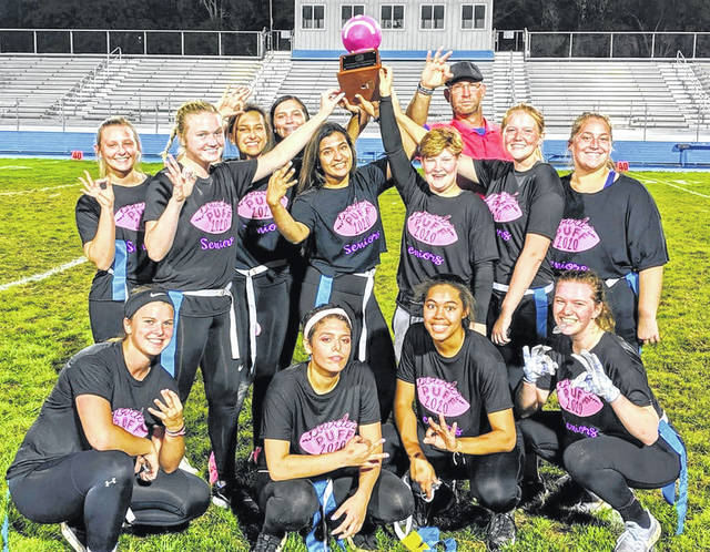 The seniors defeated the sophomores in the third annual Powderpuff game, 22-12 Wednesday, Sept. 25, 2019 at Gardner Park. Since the Powderpuff Game was established as a Homecoming tradition in 2017, the WHS Class of 2020 has won every game. (front, l-r); Shawna Conger, Jordan Kearns, Rayana Burns, Halli Wall; (back, l-r); Aria Marting, Abby Tackage, Kayla Welling, Mckenna Garren, Kara Vohra, Diamon Grim, Coach Corey Dye, Sydnie Hall and Beth Wilt.