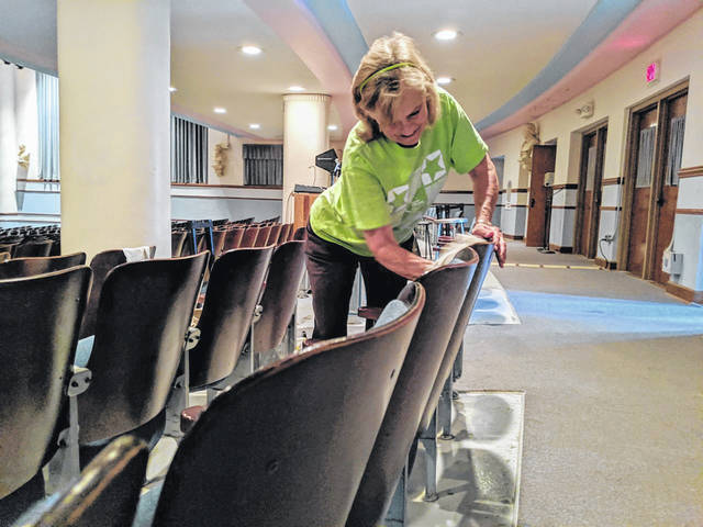 Jeanne Rosendahl, a retired teacher who directed many generations of Blue Lions in choir and musicals during her career, took part in the effort to spruce up the auditorium.