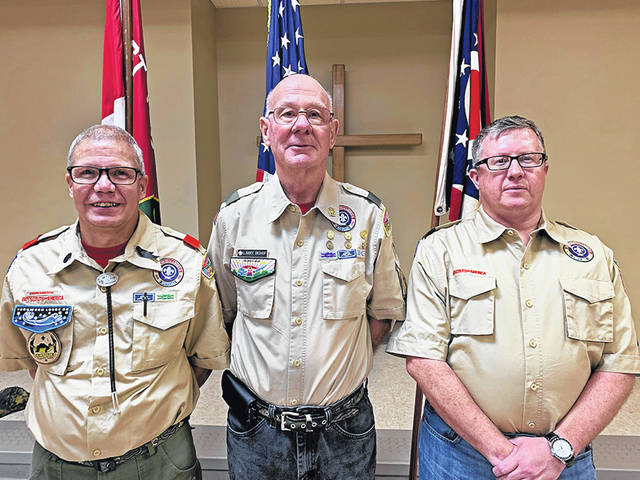 Troop 112 leaders include (l-r) John Pickelheimer, former Scoutmaster; Larry Bishop; and Chad White, new Scoutmaster for the Troop.