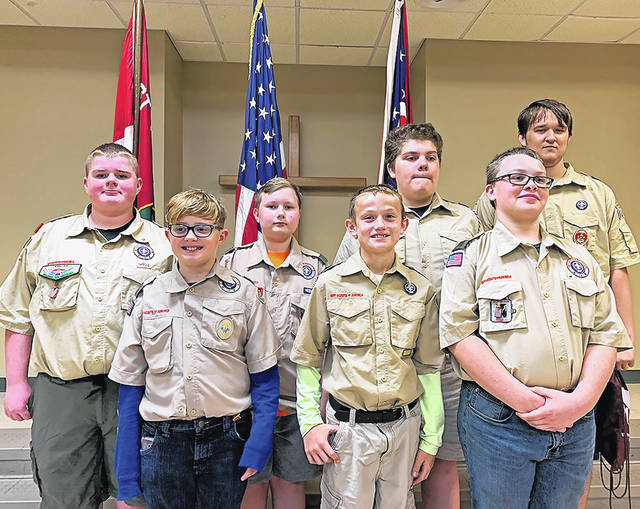 Members of Troop 112 are shown following a court of honor held at First Presbyterian Church. Shown are (l-r) Caleb Wilt, Will White, Chase Thomas, Kaeden Hooks, Zander Huesby, James Smith IV, Charlie Rutherford.