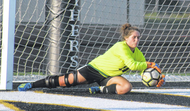 Aubrey Schwartz makes the save in goal for Miami Trace during a Frontier Athletic Conference match against Hillsboro Tuesday, Oct. 1, 2019 at Miami Trace High School.