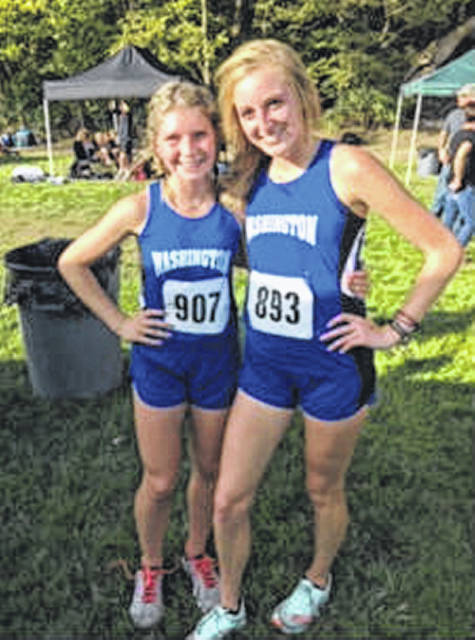 Kaelin Pfeifer, left and Cloe Copas are First Team, All-FAC after placing 5th and 2nd, respectively, in the FAC meet at Chillicothe Oct. 10, 2019.