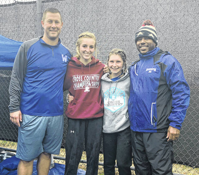 Washington High School cross country coaches and the two Regional qualifiers at Pickerington North High School Saturday, Oct. 26, 2019. (l-r); head coach Ryan Day, Cloe Copas, Kaelin Pfeifer and assistant coach Louis Reid.