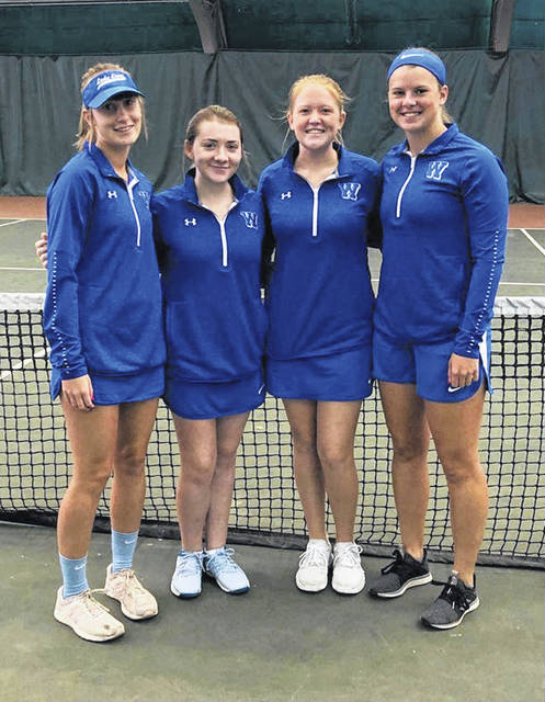 Members of the Washington High School tennis team at the District meet at Ohio University earlier this month. (l-r); Brooklyn Foose, Payton Maddux, Sydnie Hall and Shawna Conger.