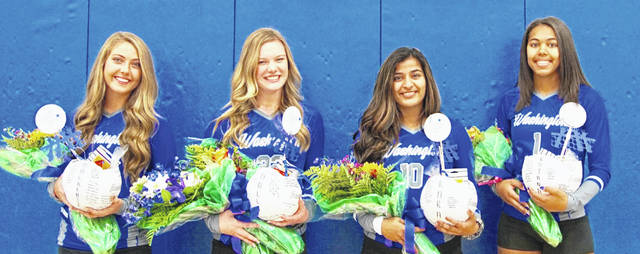 Washington High School volleyball seniors were recognized prior to the match against Unioto Saturday, Oct. 12, 2019. (l-r); Mackenzie Truex, Halli Wall, Kara Vohra and Rayana Burns.