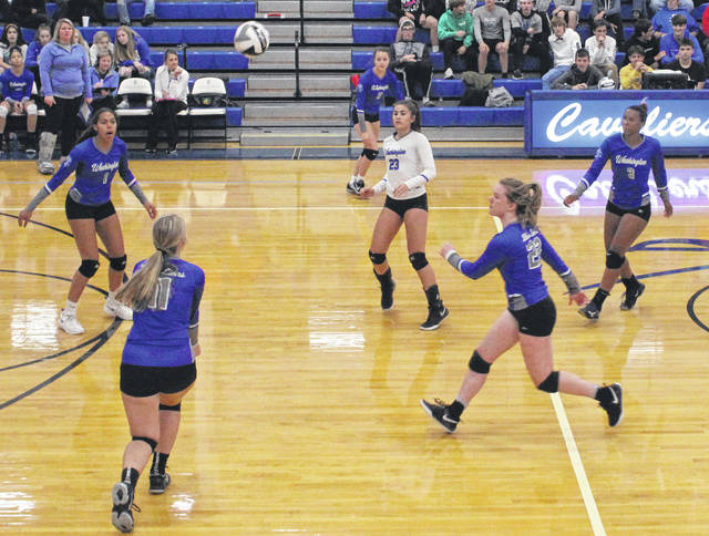 Mallory Hicks (lower left) passes up the ball during a Division II Sectional semifinal match at Chillicothe High School against the Lady Cavs Wednesday, Oct. 16, 2019. Also pictured for Washington (clockwise), Rayana Burns, Brittney Wilson, Amya Haithcock, Halli Wall and, in the middle, Aaralyne Estep. Washington defeated Chillicothe in five sets to advance to the Sectional finals at Sheridan Saturday at 4 p.m.