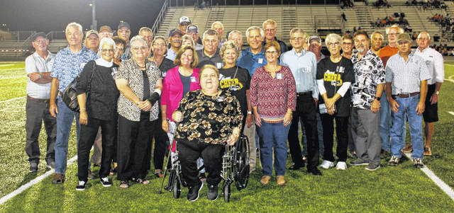 Members of the Miami Trace High School graduating Class of 1969, above, were recognized during halftime of the football game against Western Brown Friday, Sept. 27, 2019.