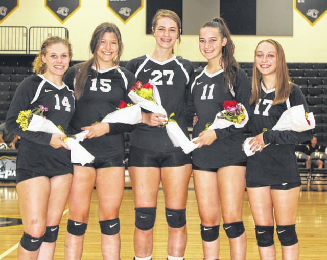 Miami Trace honored its five volleyball seniors prior to the match against Fairfield High School Wednesday, Oct. 9, 2019. (l-r); Grace Bapst, Tapanga Sanderson, Sidney Howard, Kate Leach and Anna Williams.