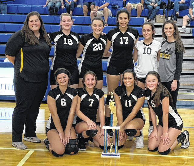 The Miami Trace High School freshman volleyball team at Chillicothe High School after winning the Chillicothe Freshman Invitational Saturday, Oct. 5, 2019. (front, l-r); McKinley Kelley, Avery Cockerill, Maddee Scott, Courtney Carter; (back, l-r); Coach Aubrey Kiger, Sara Dawson, Hillery Jacobs, Sophia Parsons, Mary Pfeifer, and Coach Mariah Mace.