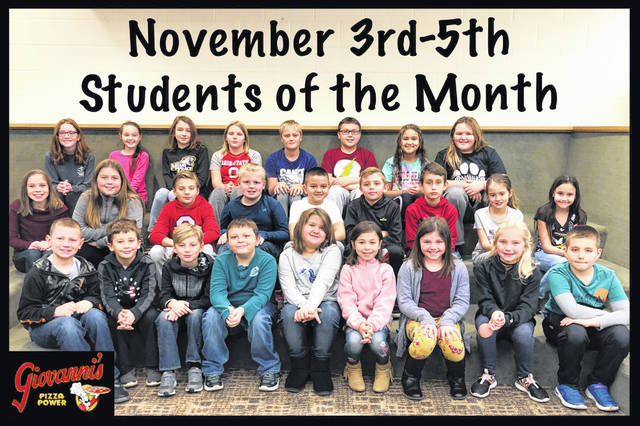 The third through fifth grade students of the month were (L to R): front row: Jarett Phipps, Hagen Hastings, Isaac Mincey, Nathan Davison, Laney Cornell, Delilah Gonzalez, Rylee Stevenson, Sadie Williamson and Zachary Lewis. Middle row: Hayley Rosenberger, Makinzyn May, Carter Davidson, Zavier Hurley, Charlie Anderson, Gage Davis, Levi Griffin, Taegan Wood and Khloe Wilson. Back row: Emily Keaton, Chesney Vance, Kendall Bickett, Abbigale Bolen, Matthias Smith, Tyler Newell, Olivya Dunn and Alainee Wolffe. Not pictured: Tyler White and Myles Roudabush.