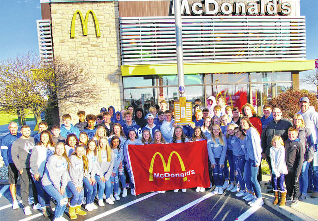 The Washington Blue Lions retained the McDonald's traveling trophy after a 40-33 come from behind victory over Miami Trace Friday night. On Saturday morning, the team was invited to breakfast at the McDonald's at US 35/I-71.