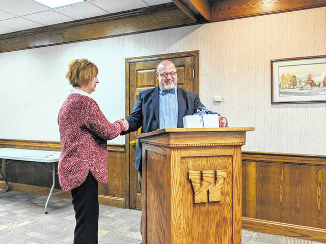 Beth Keller — who began as a fourth grade teacher at Eastside Elementary School within Washington Court House City Schools (WCHCS) — was honored at a board of education meeting Monday by WCHCS Superintendent Tom Bailey for 25 years of service to the school.