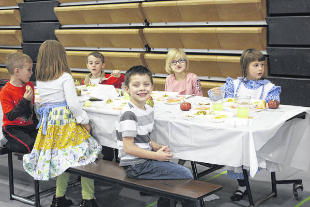 The Fayette Christian School held its Thanksgiving meal on Tuesday during school for students and staff to enjoy. Pictured are kindergartners during the first meal time of the day.
