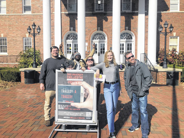 """Crew members at Ohio University Chillicothe are ready to go for this week's performances of """"Tragedy: A Tragedy."""" Pictured (L-R) are Trent Waldron (The Governor), Bri Penrod (John), Anthony Dixon (The Witness), Sarah Uhrig (Constance), Lanie Shea (Michael) and Dr. Lance Mekeel (director)."""