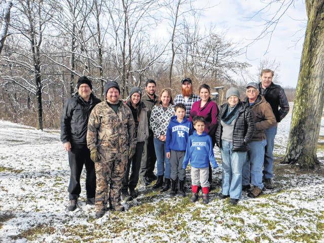The following participated in this year's Fayette County Bird Count, from left to right: Moses Schwartz, Noah Schwartz, Hannah Mullally, John Coffman, Brigitte Hisey, Carter, Keaton and Sheena Weade, Malcolm Miller, Lissa Brubaker, Don Creamer, and Jeff White.