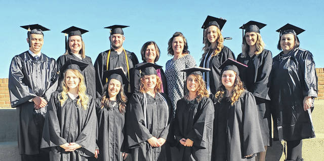 The 13th graduating class of Southern State Community College's Respiratory Care program includes Back row (L to R) Tristan Lynch (Highland), Amanda Watts (Warren), Andrew Rieder (Ross), Chyane Collins (Program Director), Nikki Dato (Director of Clinical Education), Ashley MacDowell (Highland), Natasha Holloway (Fayette), and Brittany Woods (Highland) Front row (L to R) Miranda Beavers (Pike), Mikaela Gearhart (Ross), Jami Conway-Flint (Fayette), Alexis Newman (Clinton), and Lauren Sells (Highland).