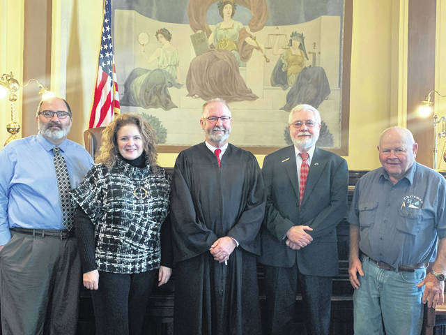The newly-elected Washington C.H. City Council members were sworn in Monday in Fayette County Common Pleas Court. From left to right are: City Manager Joe Denen, council member Kendra Redd-Hernandez, Common Pleas Court Judge Steven Beathard, council member Jim Blair and council member Jim Chrisman. The terms of the elected will begin this Wednesday. The city council re-organizational meeting will be held Thursday at 10 a.m.