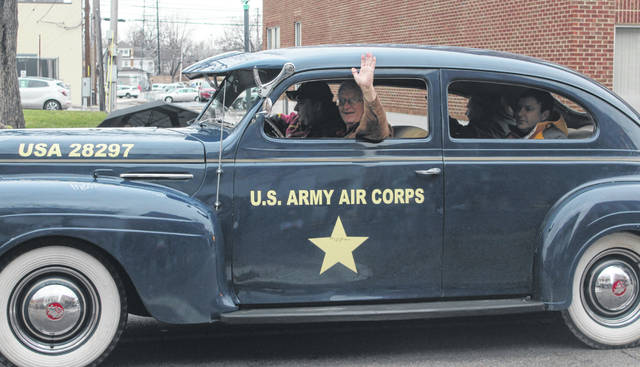 A classic 1940's car representing the U.S. Army Air Corps at the downtown Washington C.H. Christmas Parade.