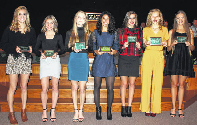 The Frontier Athletic Conference honored the top cross country runners for this past season at the Fall Sports Banquet Nov. 21, 2019. (l-r); Cloe Copas and Kaelin Pfeifer, Washington; Liv Janes, Danielle Fleurima, Caitlyn Mauger and Runner of the Year, Laikin Tarlton, of Chillicothe and Mazie Wechter, Jackson.